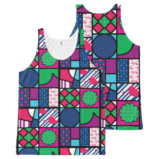 colour full pattern All-Over print tank top