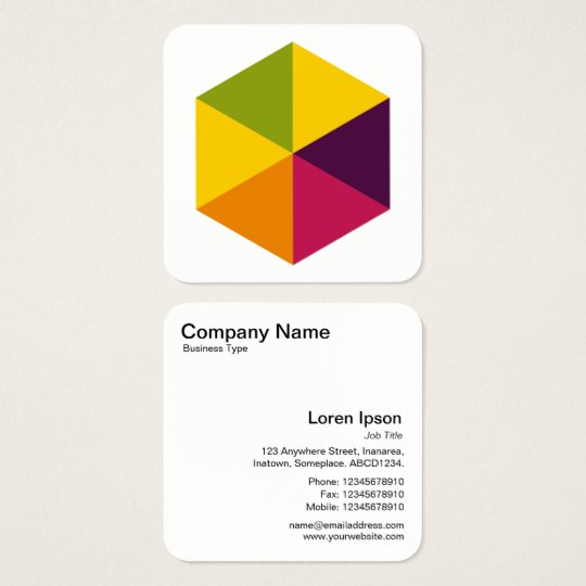 Colour Hexagon 01 Square Business Card