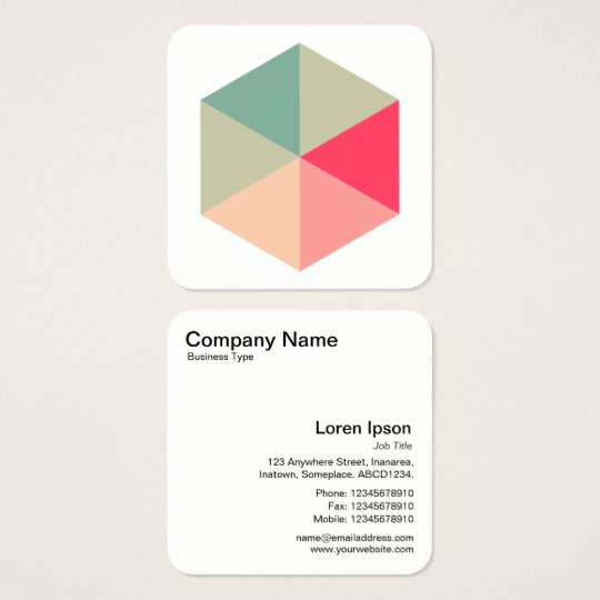 Colour Hexagon 04 Square Business Card