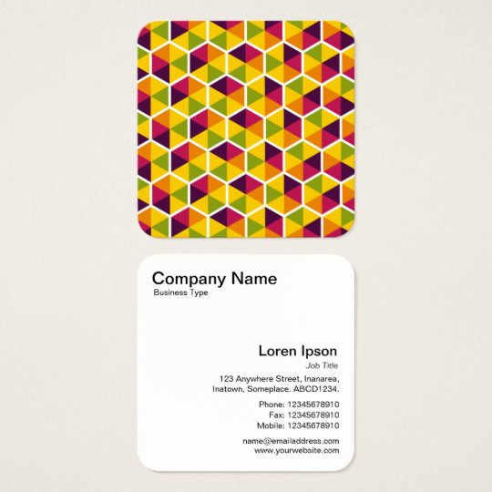 Colour Hexagon Pattern 01 Square Business Card