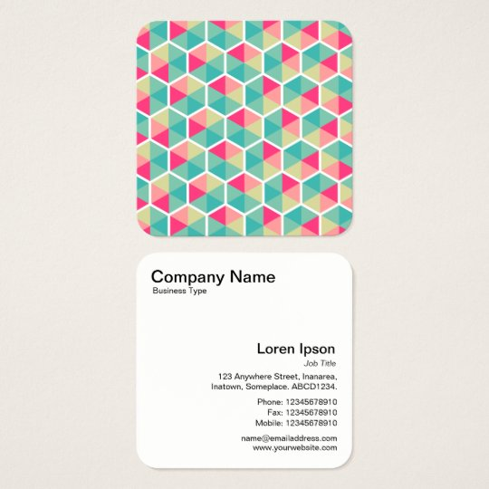 Colour Hexagon Pattern 02 Square Business Card