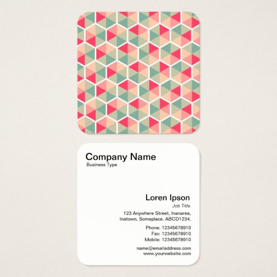 Colour Hexagon Pattern 04 Square Business Card