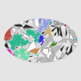 Colour Marble Abstract Design Oval Sticker