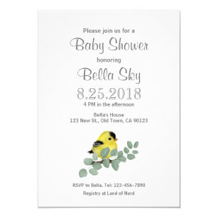 Colour Me Yellow Goldfinch Baby Shower Cards