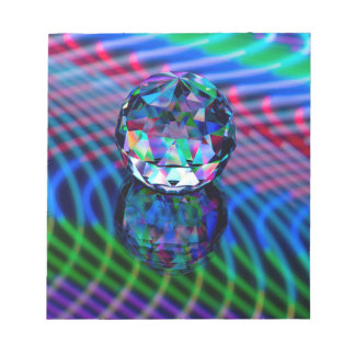 Colour of facets in glass. notepad