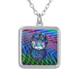 Colour of facets in glass. silver plated necklace