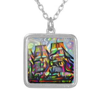 Colour ship silver plated necklace