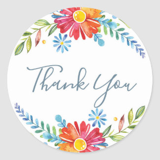 Colour Spring Flowers Thank you stickers
