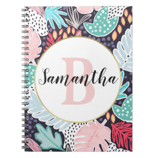 Colour Tropical Cutout Shapes Monogrammed Notebook