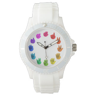 Colour wheel asl sign language numbers wrist watches