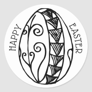 Colour Your Own Hand Drawn Easter Egg—Happy Easter Classic Round Sticker