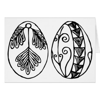 Colour Your Own Hand Drawn Easter Eggs Card