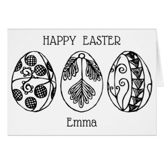 Colour Your Own Hand Drawn Easter Eggs, Custom Card
