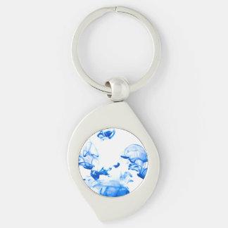 colourdrops Silver-Colored swirl key ring