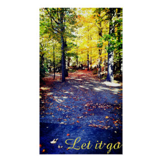 Coloured Autumn Path Poster Print