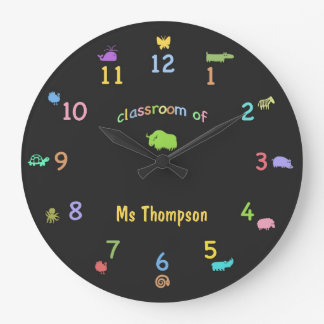 Coloured Chalk Custom Zoo Animal Classroom Clock