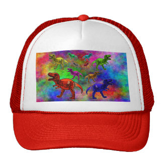 Coloured Dinosaurs on Pastel Background Cap
