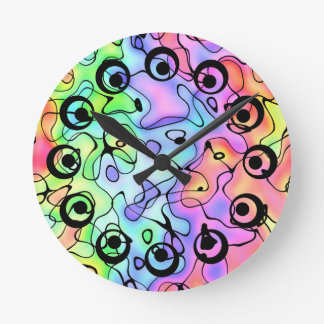 Coloured Doodles Round Clock