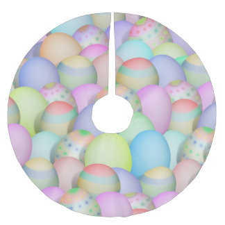 Coloured Easter Eggs Background Brushed Polyester Tree Skirt