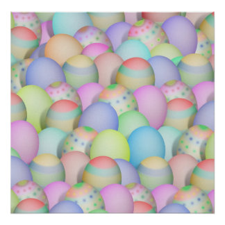 Coloured Easter Eggs Background Poster