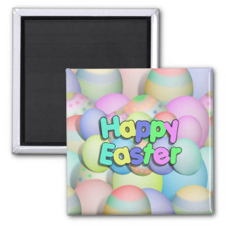 Coloured Easter Eggs - Happy Easter Square Magnet