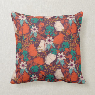 Coloured flowers pattern cushion