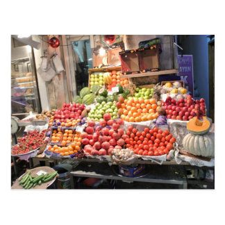 coloured fruit market booth postcard