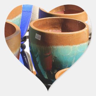 Coloured garden plant pots heart sticker