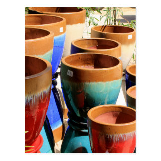 Coloured garden plant pots postcard