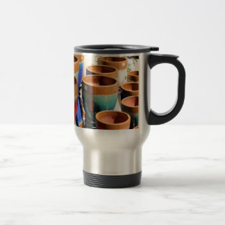 Coloured garden plant pots travel mug