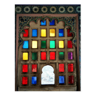 Coloured glass in a wood window frame postcard