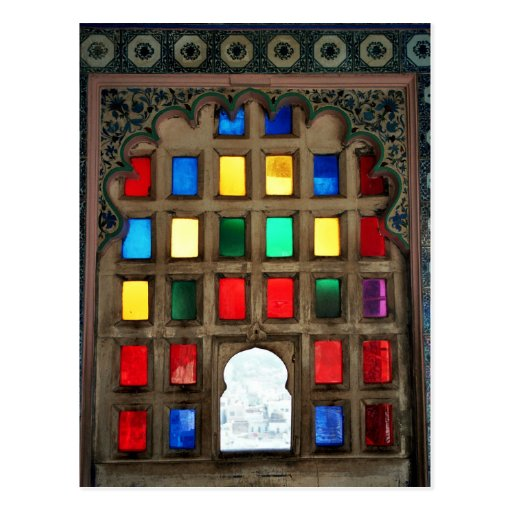 Coloured glass in a wood window frame postcards