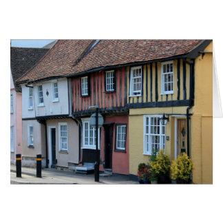 Coloured houses at Saffron Walden, Essex, UK Card