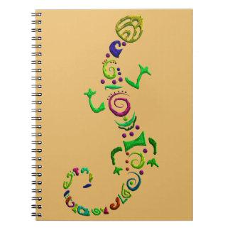 coloured lizard Tribal Notebook