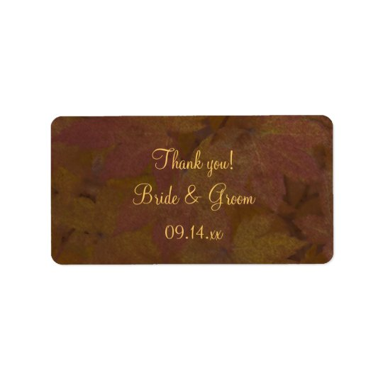 Coloured Maple Leaves Wedding Thank You Favour Label