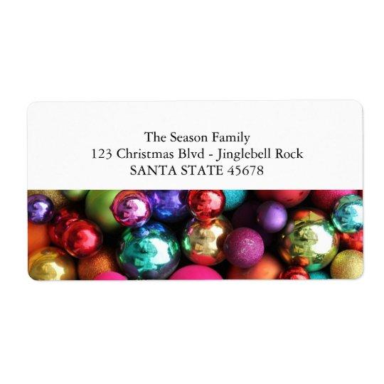 Coloured ornaments address label