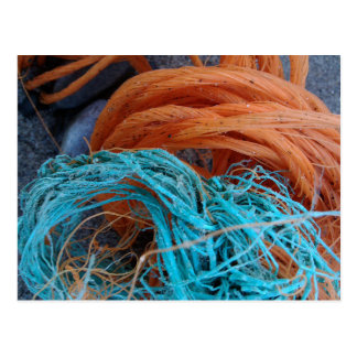 Coloured rope on the beach postcard