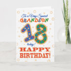 Colourful 18th Birthday for Special Grandson Card