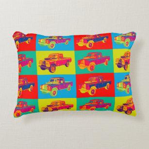 Colourful 1971 Land Rover Pickup Truck Pop Art Decorative Cushion
