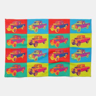 Colourful 1971 Land Rover Pickup Truck Pop Art Tea Towel