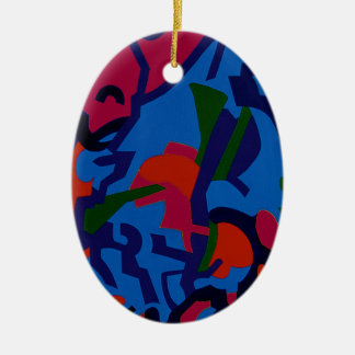 Colourful Abstract Art christmas tree decorations Ceramic Oval Decoration