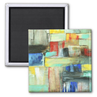 Colourful Abstract Cityscape Original Art Painting Square Magnet