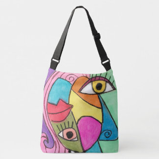 Colourful Abstract Colour Block Big Eyes Bold Lips Crossbody Bag