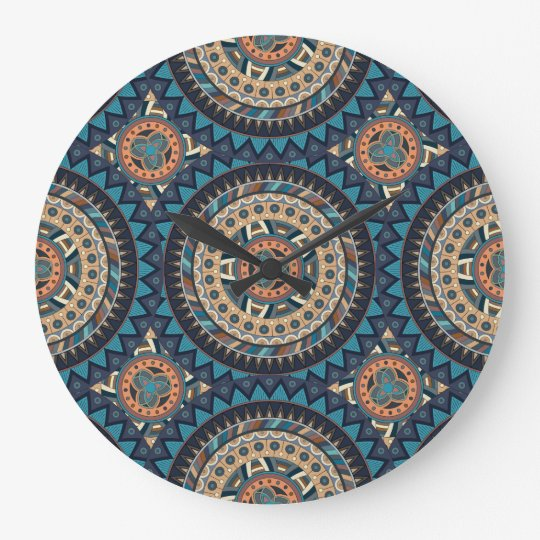 Colourful abstract ethnic floral mandala pattern clock