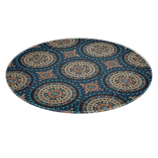 Colourful abstract ethnic floral mandala pattern cutting board