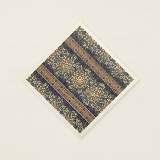 Colourful abstract ethnic floral mandala pattern disposable serviette
