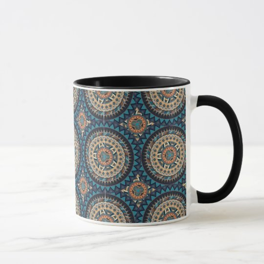 Colourful abstract ethnic floral mandala pattern mug
