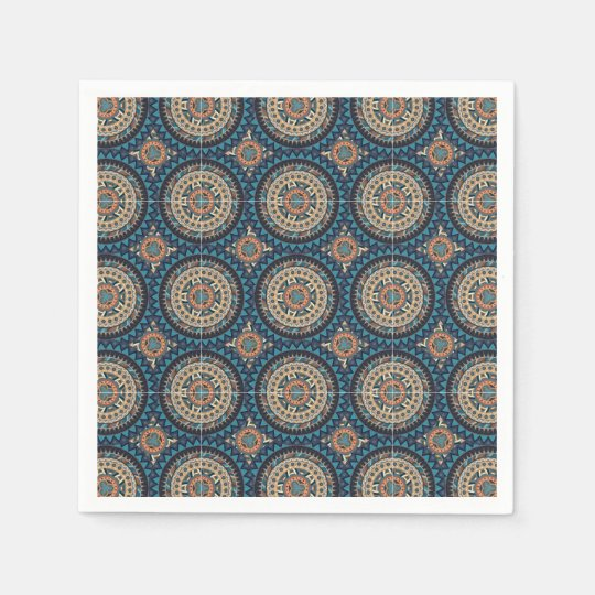 Colourful abstract ethnic floral mandala pattern paper napkin