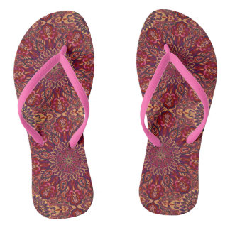 Colourful abstract ethnic floral mandala pattern thongs