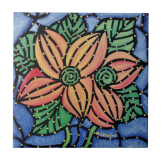 Colourful Abstract Flower Ceramic Art Tile